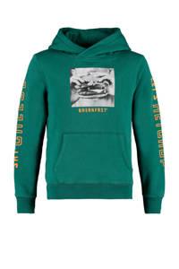 America Today Junior hoodie Sage met printopdruk groen, Groen