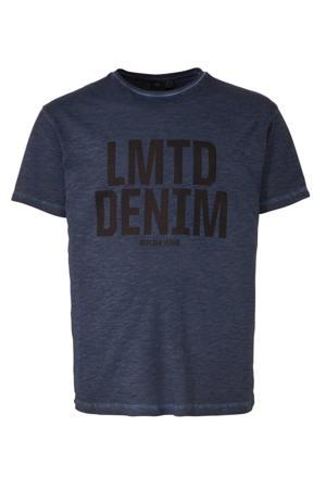 +size T-shirt met printopdruk navy blue