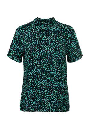 blouse met all over print groen