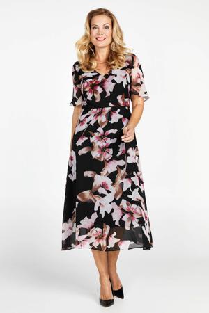 gebloemde semi-transparante jurk zwart/roze