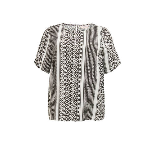 ONLY CARMAKOMA top met all over print wit/zwart