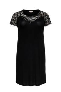 ONLY CARMAKOMA jersey jurk met kant zwart, Zwart
