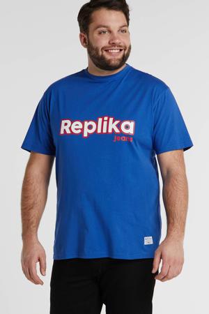 +size T-shirt met logo zepthyr blue