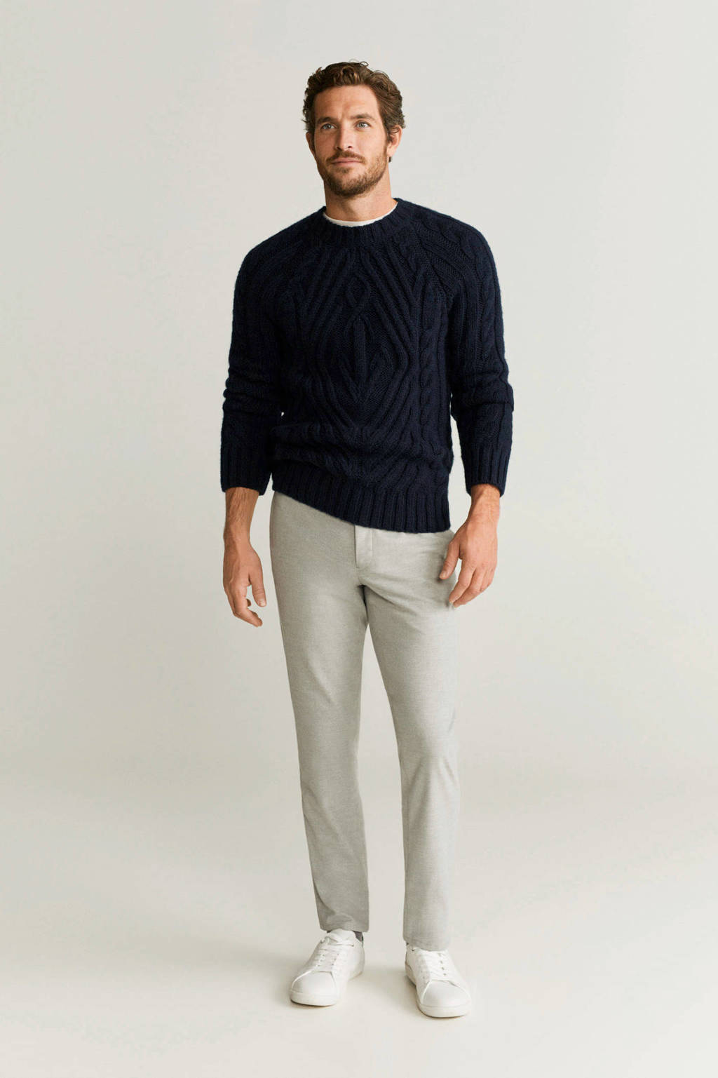Mango Man gemêleerde sweater marineblauw, Marineblauw