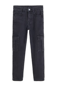 Mango Kids skinny jeans met cargozakken zwart, Zwart