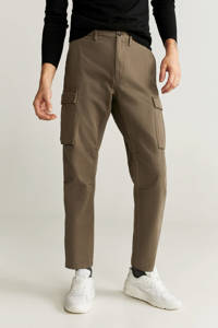 Mango Man regular fit cargobroek kaki/beige, Kaki/beige
