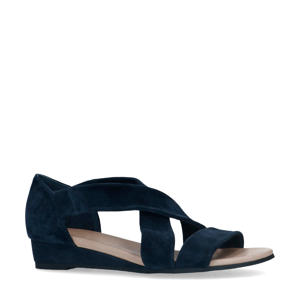 suède sandalen donkerblauw