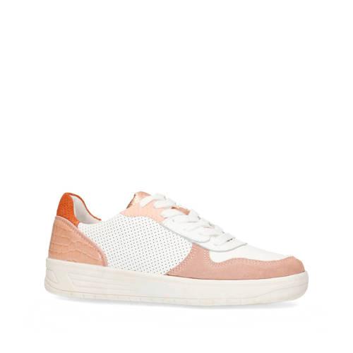 Manfield leren sneakers wit/roze