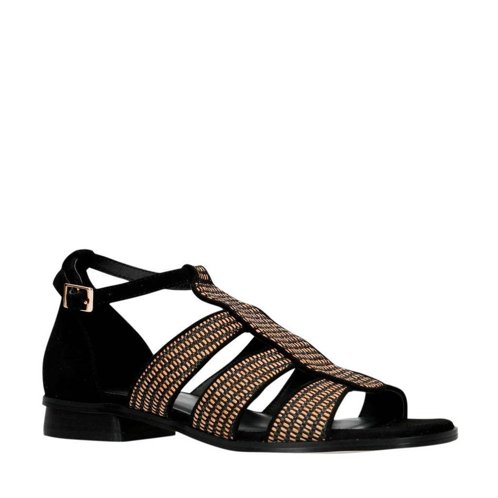 Manfield   suède sandalen zwart, Zwart/bruin