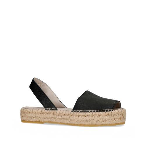 Sacha leren plateau sandalen zwart