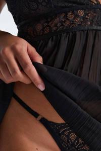 Hunkemöller pyjama met velours top donkerblauw, Donkerblauw