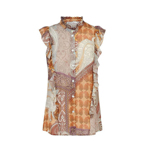 Summum Woman top met all over print oranje/paars/w