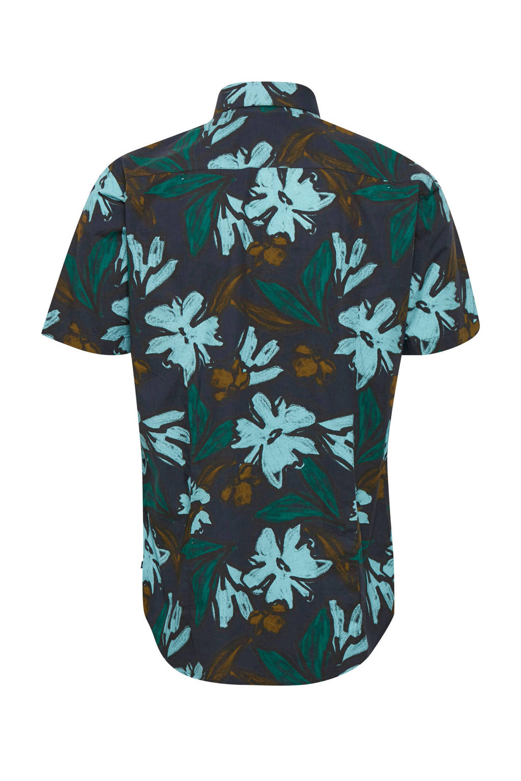 Matinique slim fit overhemd met bladprint donkerblauw, Donkerblauw