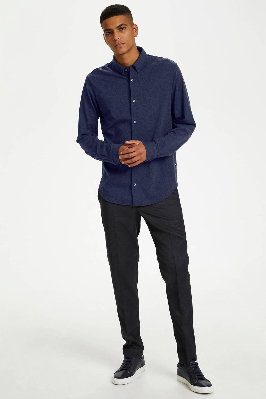 Matinique regular fit overhemd donkerblauw, Donkerblauw