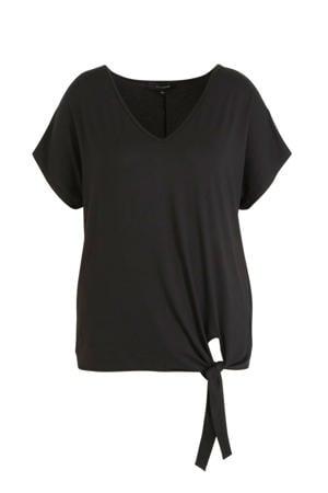 Plus size top met knoop detail zwart