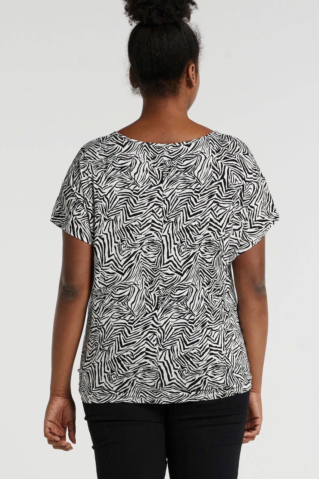 anytime Plus size top met knoop detail zebraprint zwart/ecru, Zwart/ecru
