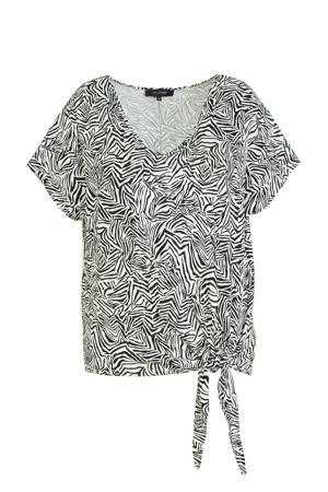 Plus size top met knoop detail zebraprint zwart/ecru