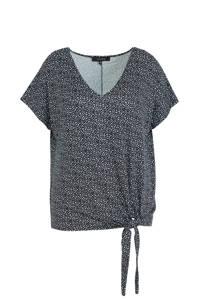 anytime Plus size top met knoop detail all-over print zwart/ecru, Zwart/ecru