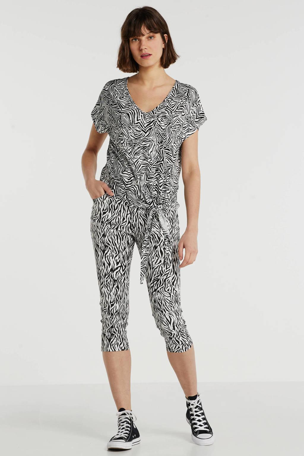 anytime top met knoop detail en zebraprint zwart/ecru, Zwart/ecru
