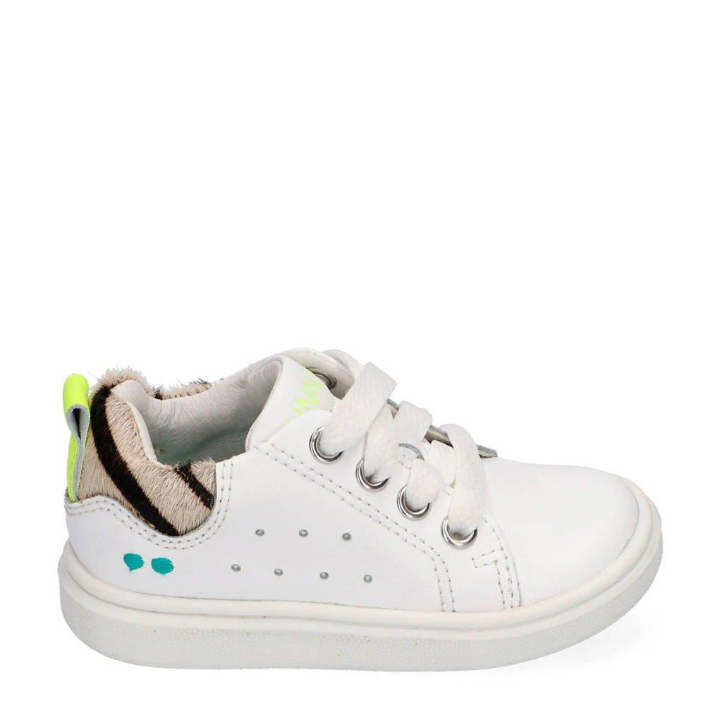 Bunnies Kiki King  leren sneakers wit/zebraprint, Wit/Beige/Neon geel