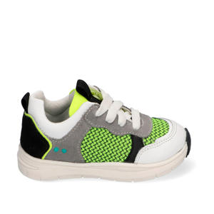 Charlie Chunky  leren chunky sneakers wit/neon geel