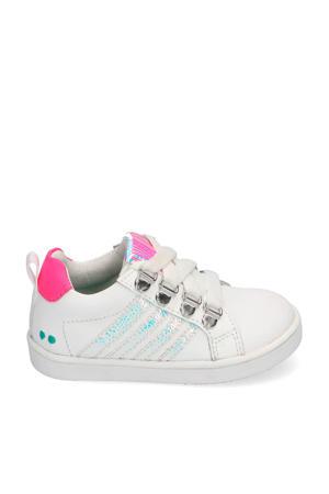 Puk Pit  leren sneakers wit/roze/metallic