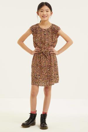 jurk met panterprint lichtroze/zwart/geel