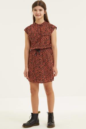 jurk met dierenprint bruin/zwart