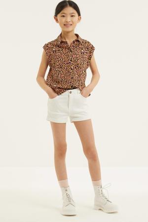 blouse met panterprint lichtroze/zwart/geel
