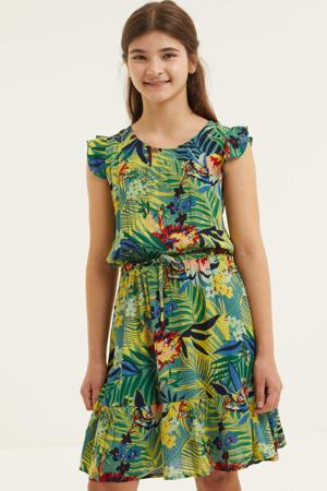 jurk met all over print en ruches blauw/groen/rood