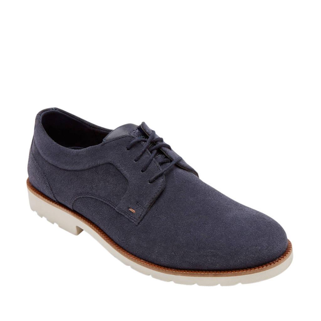 Rockport Sharp&Ready 2 Plain Toe Oxford  suède veterschoenen blauw, Donkerblauw