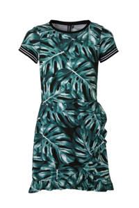 Zigga jurk met all over print en volant zwart/groen, Zwart/groen