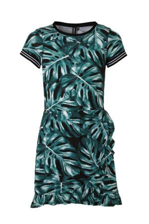 jurk met all over print en volant zwart/groen