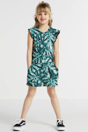 jumpsuit met all over print zwart/groen