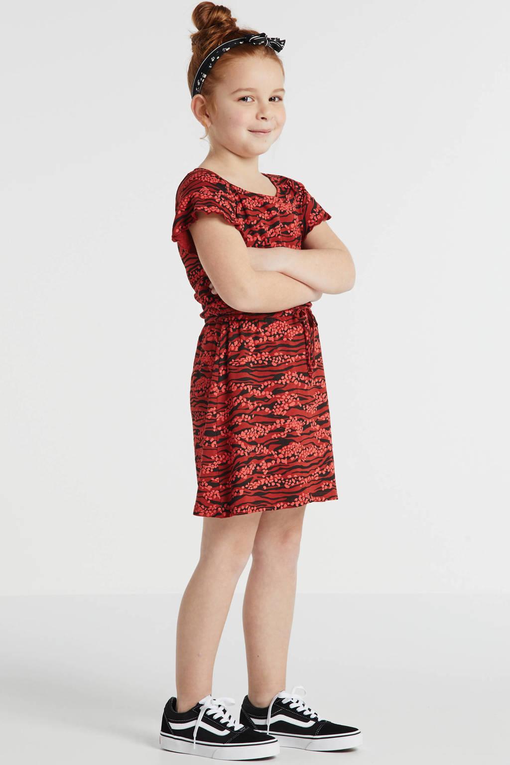 Zigga jurk met all over print en ruches rood/zwart, Rood/zwart