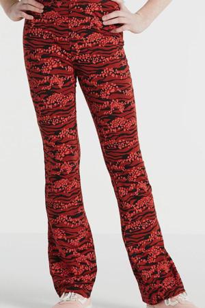 flared legging met all over print rood/zwart