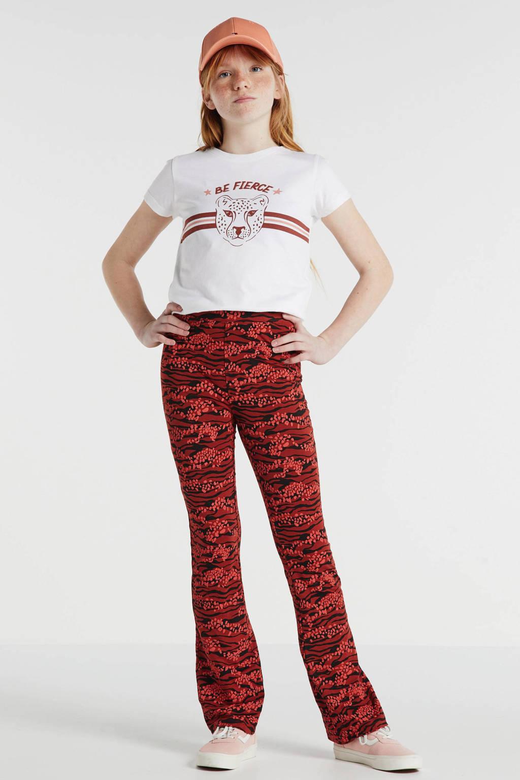 Zigga flared legging met all over print rood/zwart, Rood/zwart