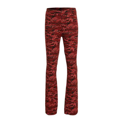 Zigga flared legging met all over print rood/zwart