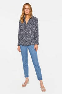 WE Fashion blouse met all over print blauw/wit, Blauw/wit