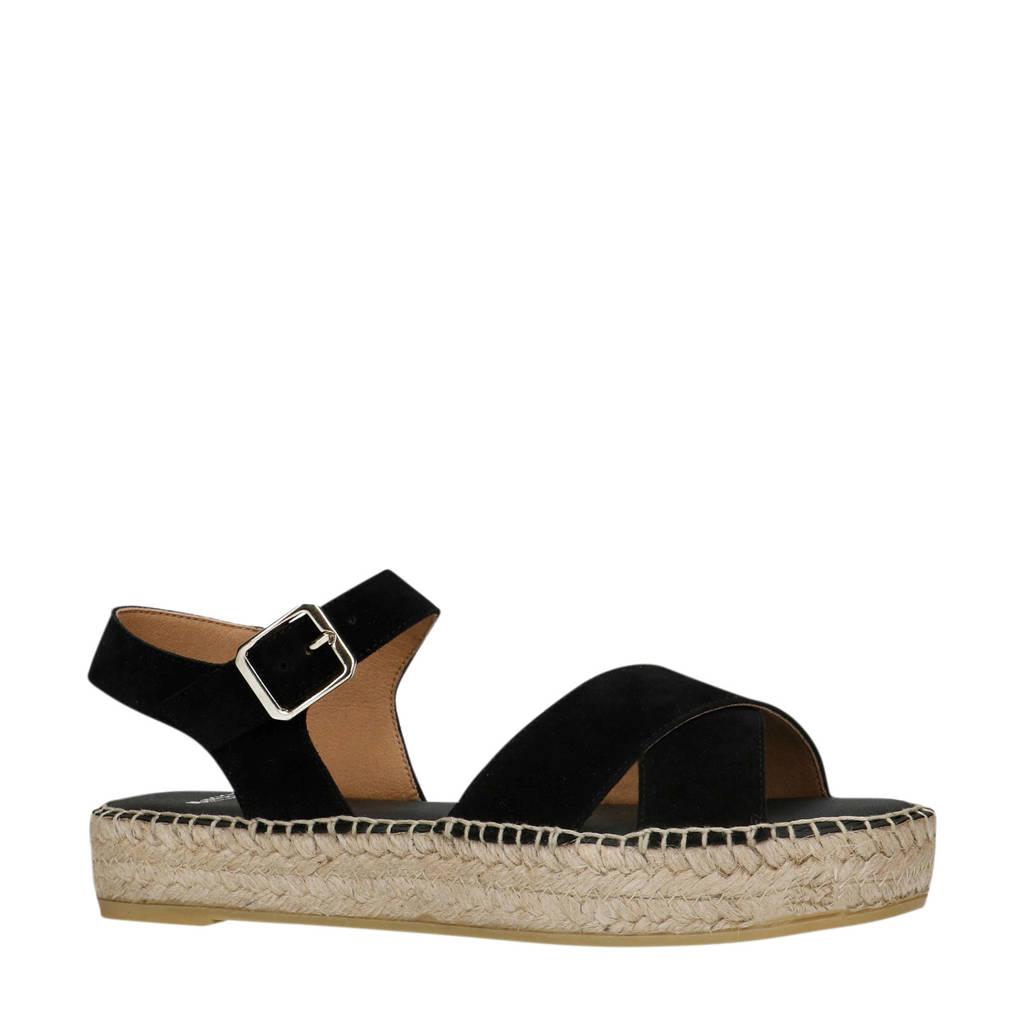 Manfield   suède sandalen zwart, Zwart