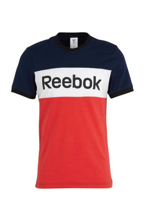 sport T-shirt rood/wit/donkerblauw