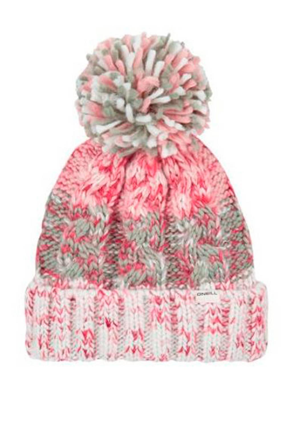 WE Fashion muts met pompon roze, Roze/ecru
