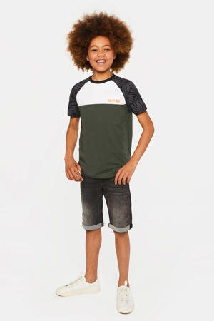 regular fit T-shirt Salty Dog army groen/antraciet/wit