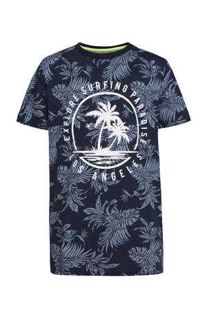 T-shirt met all over print donkerblauw/wit