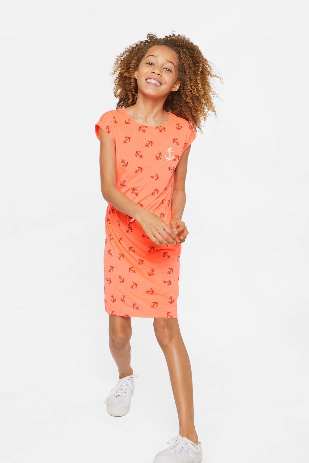WE Fashion jersey jurk met all over print en borduursels zalm/rood