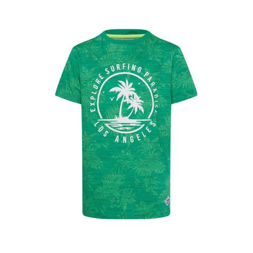 WE Fashion T-shirt met printopdruk groen/wit
