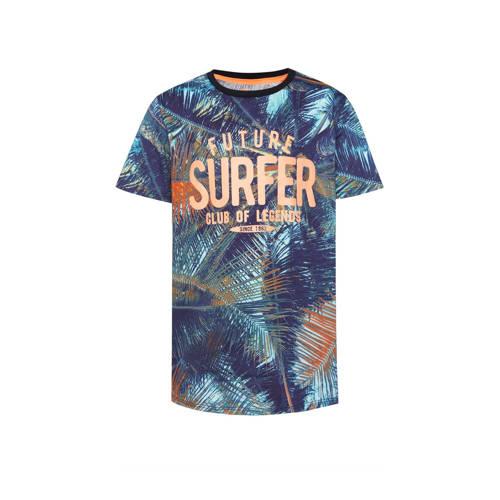 WE Fashion regular fit T-shirt met tekst multi