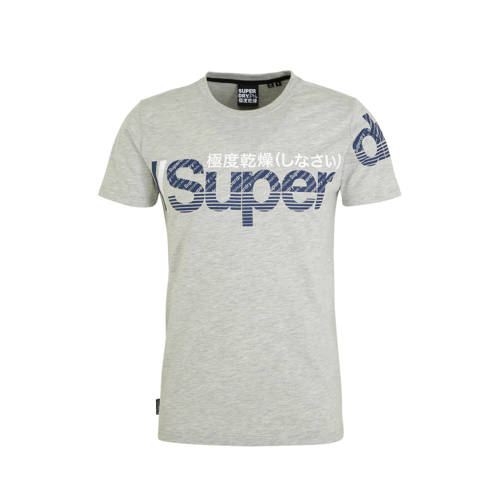 Superdry T-shirt met printopdruk lichtgrijs