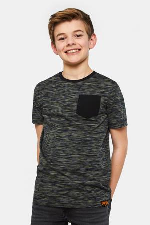 gemêleerd regular fit T-shirt Salty Dog donkergroen/zwart