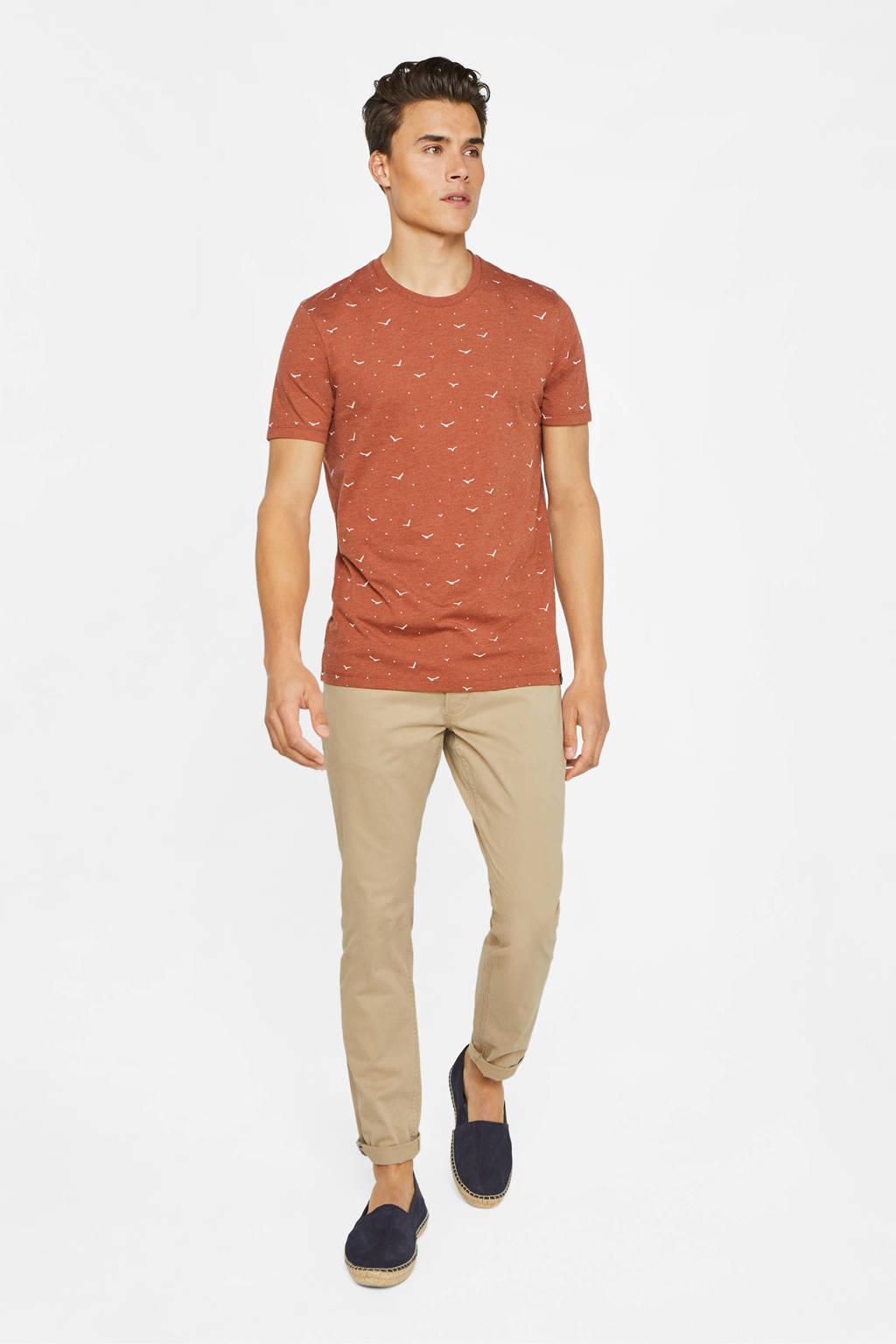 WE Fashion T-shirt met all over print oranje, Oranje